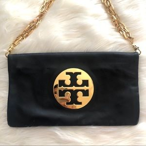 Authentic Tory Burch Reva Clutch in Navy leather